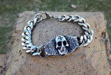 TrendyBracelets.Biz.Stainless Steel Skull and Chain Bracelet