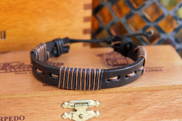 TrendyBracelets.Biz.Threaded Warrior Leather Bracelet - Adjustable