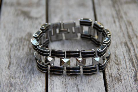 Train Tracks Metal Bracelet