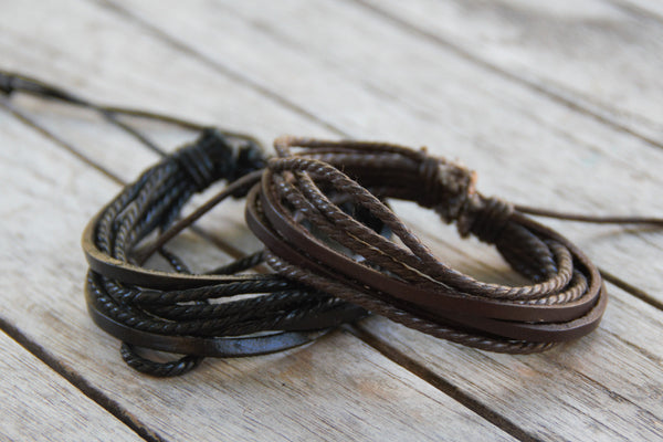 SPECIAL PRICING - Multi Layer Tribal Leather Bracelet - Adjustable