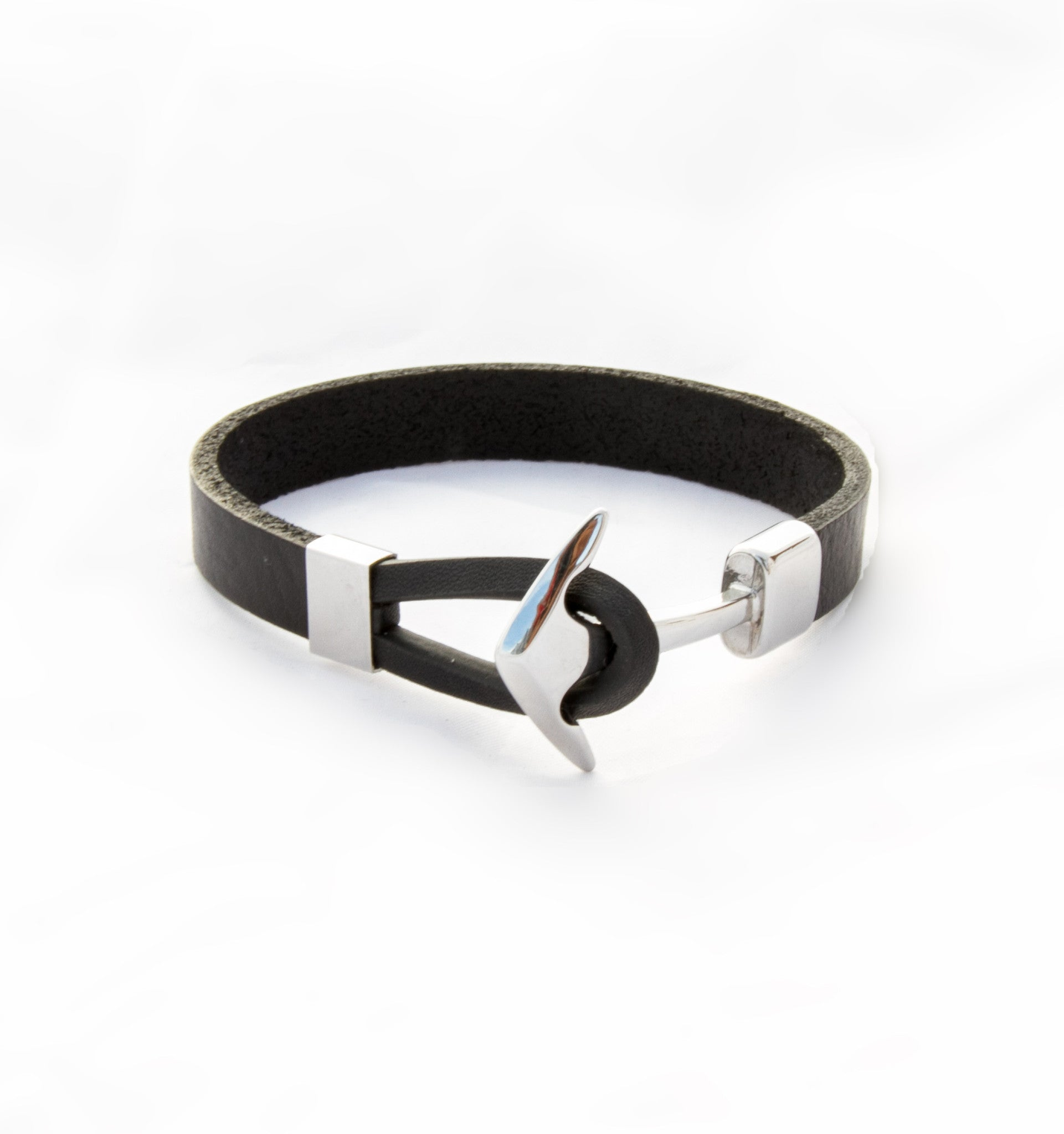 TrendyBracelets.Biz.Black Leather Bracelet with Stainless Steel Anchor
