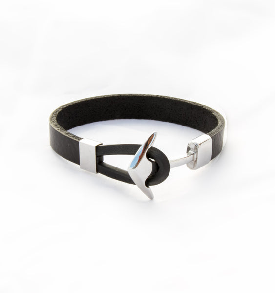 Black Leather Bracelet with Stainless Steel Anchor