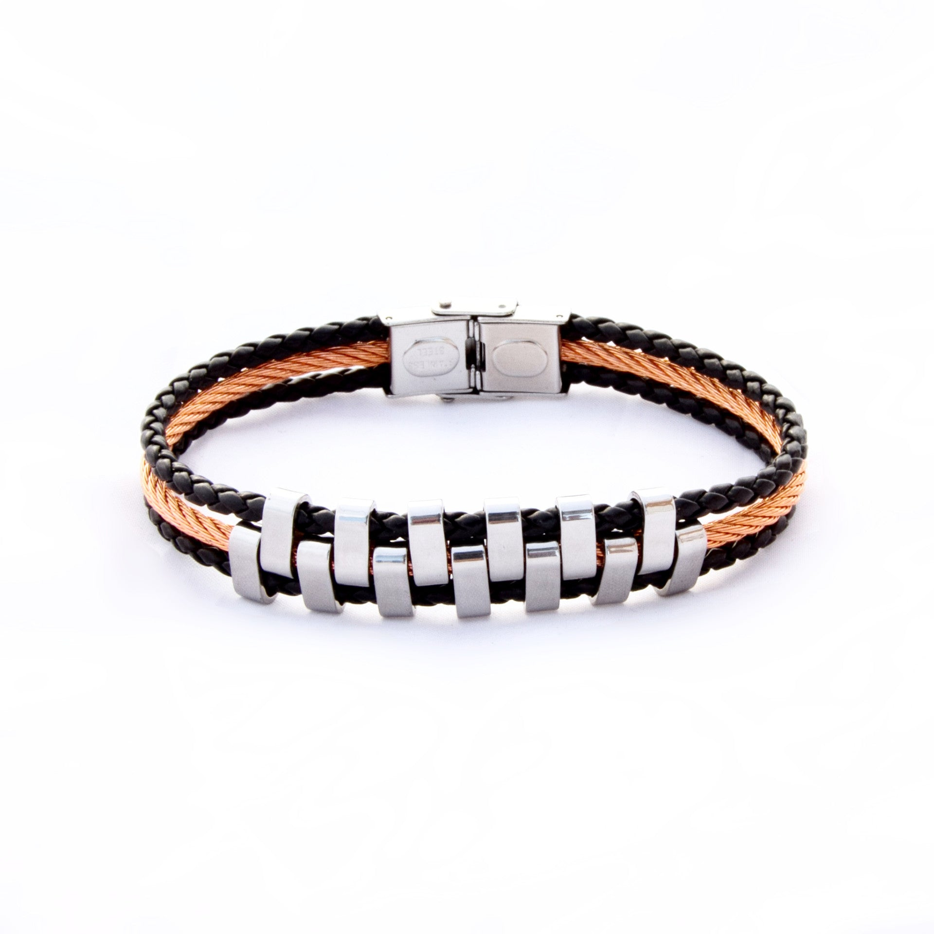 TrendyBracelets.Biz.Stainless Steel and Black Leather Bracelet with Orange Tone Steel
