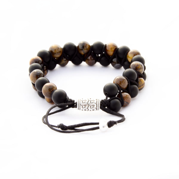 TrendyBracelets.Biz.Tao Bead Bracelet - Tiger Eye and Black Stone