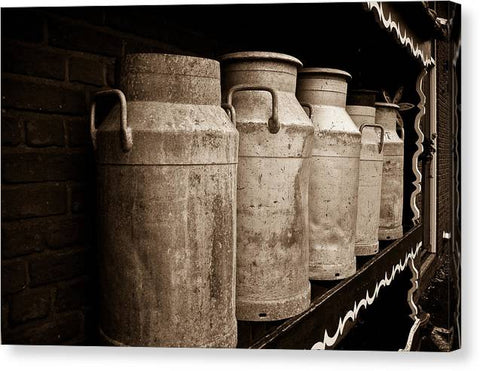 AMS-0031-Milk Canisters In Edam - Canvas Print
