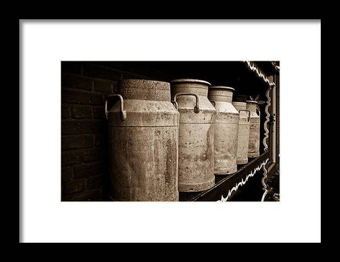 AMS-0031-Milk Canisters In Edam - Framed Print