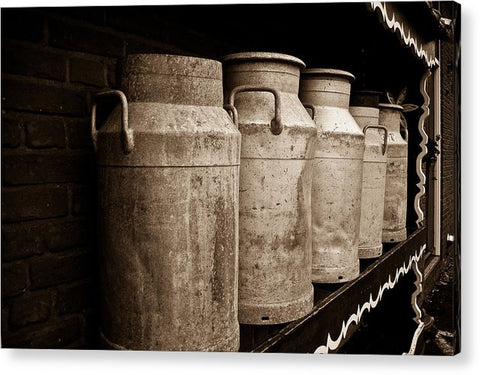 AMS-0031-Milk Canisters In Edam - Acrylic Print