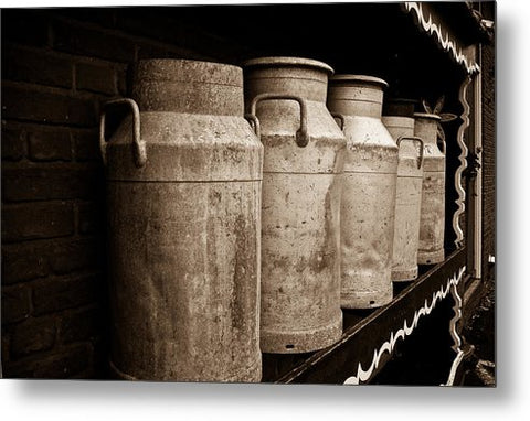 AMS-0031-Milk Canisters In Edam - Metal Print