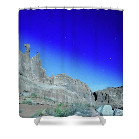 Arches National Park at night - Wall Street - Shower Curtain