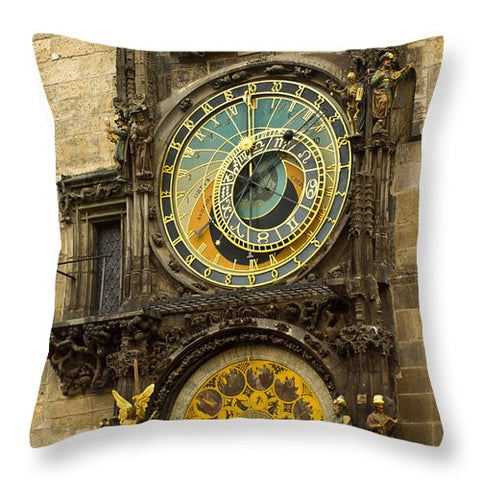 Astronomical Clock in Prague - Throw Pillow