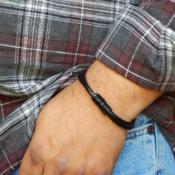 Surfer's Black Leather Bracelet