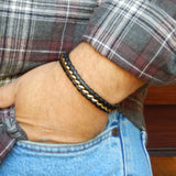 Black Leather and Stainless Steel Bracelet with Bronze Tone Ribbon - Get a Free Ring