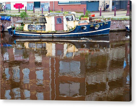 Boat Reflection on Amsterdam Canal - Acrylic Print