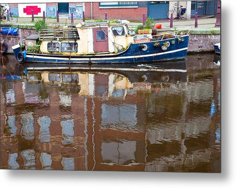 Boat Reflection on Amsterdam Canal - Metal Print