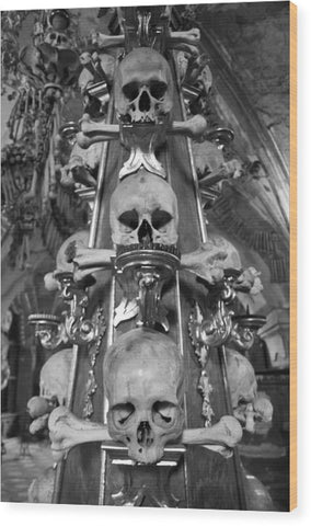Bone Church Ornaments Kutna Hora Czech Republic - Wood Print