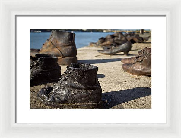Children Shoes on the Danube in Budapest Hungary - Framed Print