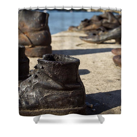 Children Shoes on the Danube in Budapest Hungary - Shower Curtain
