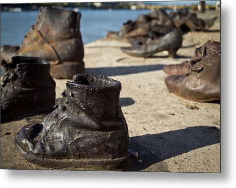 Children Shoes on the Danube in Budapest Hungary - Metal Print
