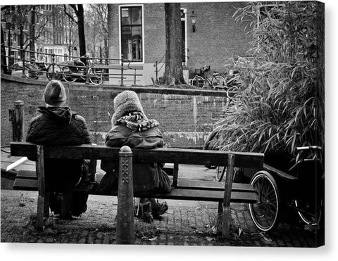Couple On Bench in Amsterdam - Canvas Print