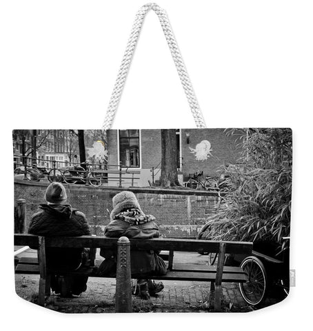 Couple On Bench in Amsterdam - Weekender Tote Bag