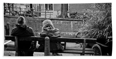 Couple On Bench in Amsterdam - Bath Towel