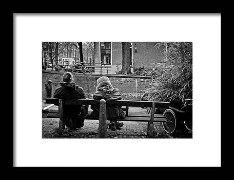 Couple On Bench in Amsterdam - Framed Print