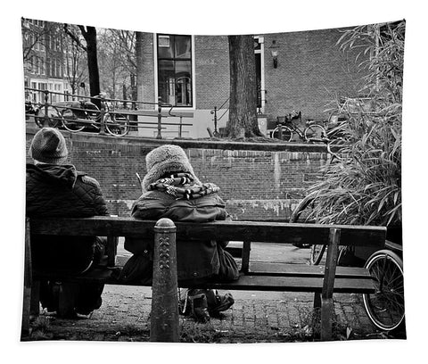 Couple On Bench in Amsterdam - Tapestry