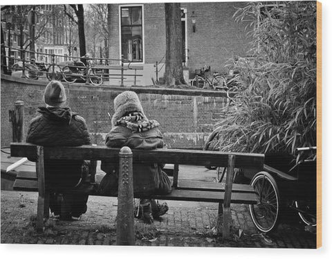 Couple On Bench in Amsterdam - Wood Print