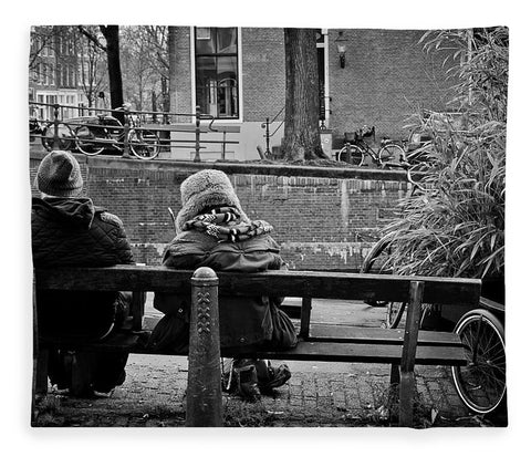 Couple On Bench in Amsterdam - Blanket