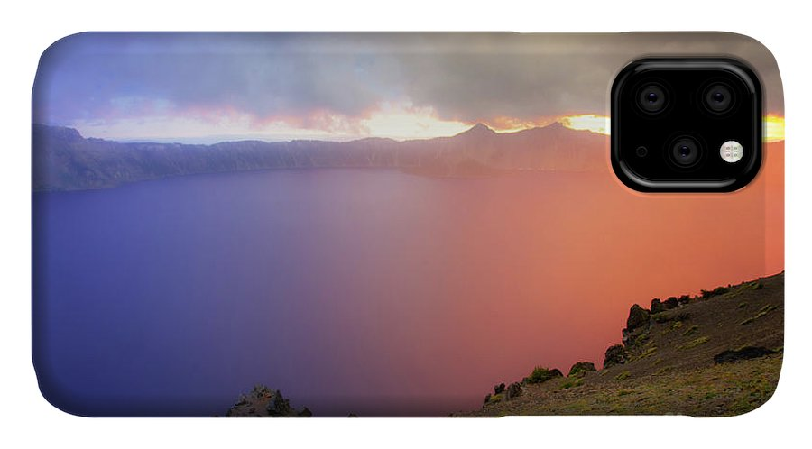 Crater Lake National Park at Sunset after a storm - Phone Case
