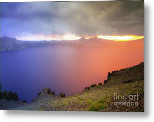 Crater Lake National Park at Sunset after a storm - Metal Print