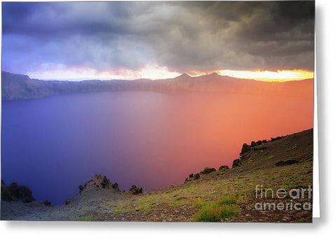 Crater Lake National Park at Sunset - Greeting Card