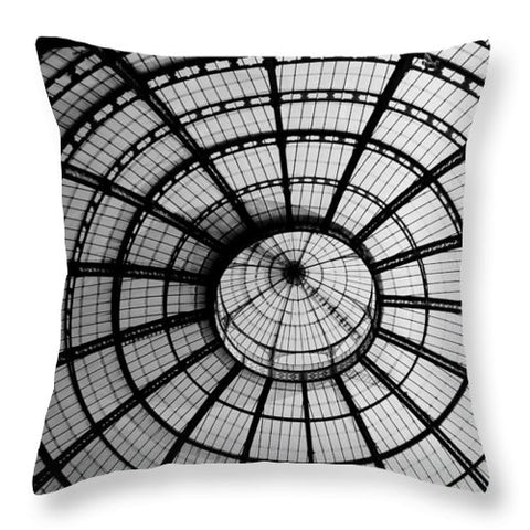ITL-0016-Glass Ceiling At The Milan Gallery Round - Throw Pillow