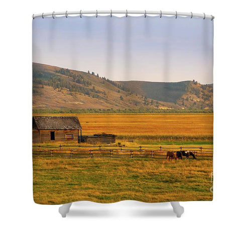 Keogh Ranch Landscape - Daniel Wyoming - Shower Curtain