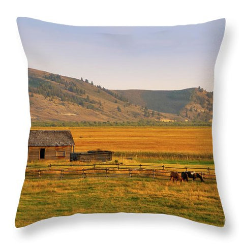 Keogh Ranch Landscape - Daniel Wyoming - Throw Pillow