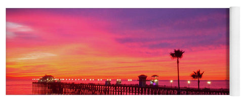 Magical sunset over the oceanside pier - Yoga Mat