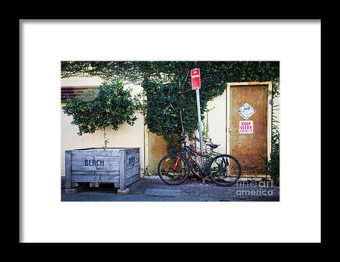 Parked Bicycles in Byron Bay Queensland  - Framed Print