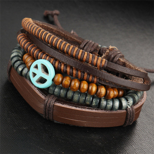 TrendyBracelets.Biz.Bohemian Multilayer Leather and Bead Bracelet