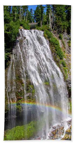Waterfall at Mt. Rainier - Beach Towel