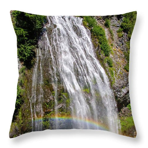 Waterfall at Mt. Rainier - Throw Pillow
