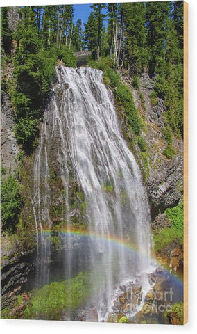 Waterfall at Mt. Rainier - Wood Print