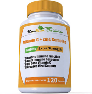 High Dose Vitamin C + Zinc Complex for Immune Support and Viral Defense 120 Capsule 2 Month Supply Vegetable Capsule by RaeSun Botanics - Fitness Stacks