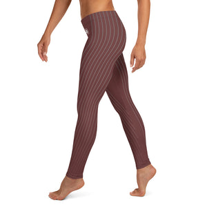 Burgundy Stripes Leggings - Fitness Stacks
