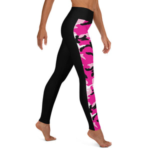 Split Pink Camo Yoga Leggings