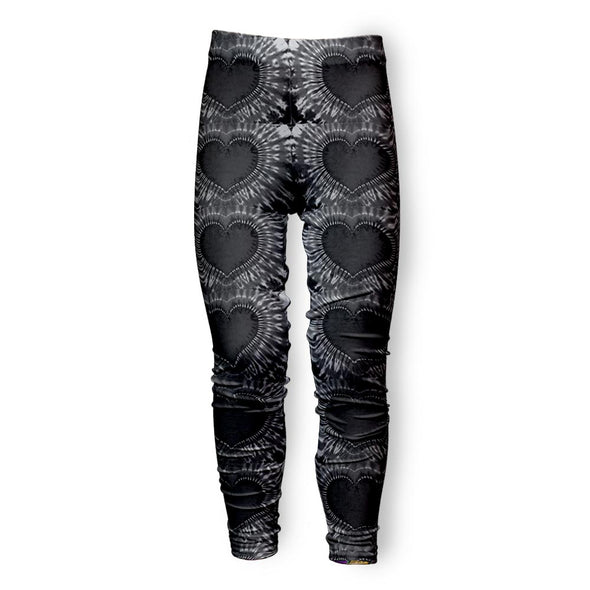 BLACK HEART TIE DYE LEGGING
