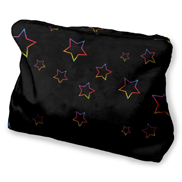 BLACK RAINBOW STARS COSMETIC BAG