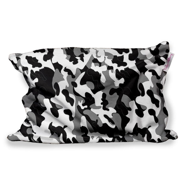 BLACK WHITE CAMO FUZZY PILLOW