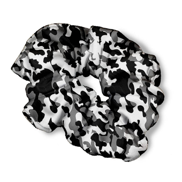 BLACK WHITE CAMO SCRUNCHIE