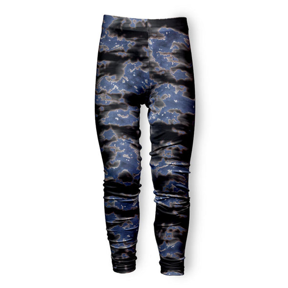BLEACHED BLACK DENIM TIE DYE LEGGING