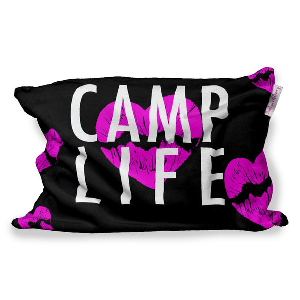 CAMP LIFE FUZZY PILLOW